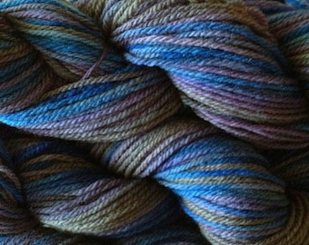 Handpainted Merino Wool Worsted Weight Yarn in Thunder Storm Gray Blue Purple