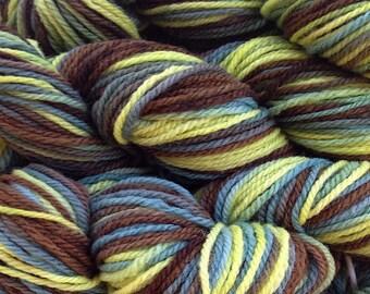 Hand Painted Merino Wool Worsted Weight Yarn in Avocado Stone Green Brown