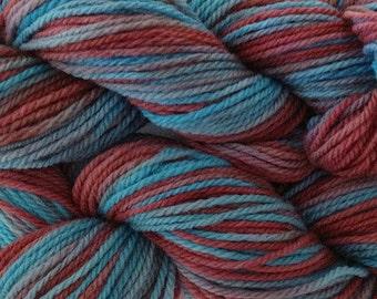 Handpainted Merino Wool Worsted Weight Yarn in Frost Bite Aqua Burgundy