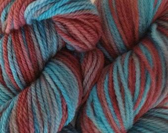Frost Bite Sport Weight Handpainted Merino Wool Yarn Aqua Burgundy