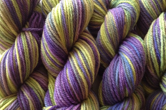 Merino Wool Yarn DK Sport Weight Handpainted Hand Dyed in Autumn Hydrangea