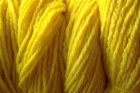 Flower Yellow Worsted Weight Hand Dyed Merino Wool Yarn