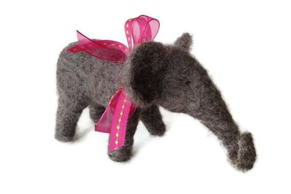 Elephant Needle Felted Wool Miniature Gray Elephant with Pink Ribbon Handmade