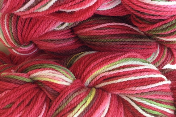 Hand Painted Merino Wool Worsted Weight Yarn in Strawberry Fields (Red)