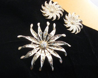 Vintage Rhinestone Pin and Clip Earrings