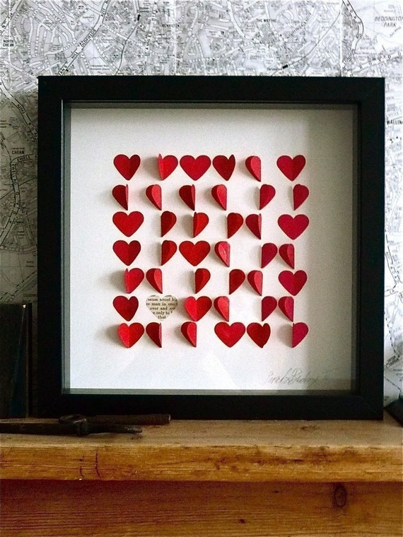 Personalized Love Hearts Framed Picture - Red