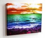 Rainbow.Beach...colorful ocean mountains sunset gallery-wrap canvas