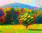 The Bubble Tree ... neon, trippy tree and fractal art photo collage