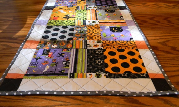 Reserved for Deb - 2 Halloween Table Runners - Costume Parade - Riley Blake Designs - Orange, Purple, Grey - 29in X  17in