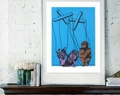 ONE LEFT in Stock! Original Blue Miss Piggy Meets The Venus of  Willendorf as a Puppet, 11''x15'' on Rag Paper