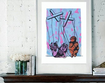 Digital Print of Original Blue and Pink Miss Piggy Meets The Venus of Willendorf, You choose the size
