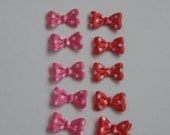 10 Mini Bows with Polka Dots Appliques Making Hair Bow Clippies Clippys Scrapbooking Scrapbook Craft Supplies