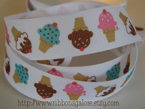 7/8 Icecream Cone 5 YARDS Grosgrain Ribbon Colored Blue Brown Pink Birthday Hair Bow Hairbow Supplies Scrapbook Clips Clippies Clippys