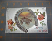 Antique Christmas Horseshoe Postcard With Horse and Wagon Happy New Year Postcard Embossed