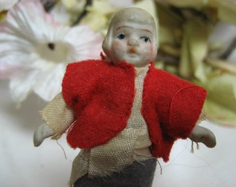 All Bisque Doll Japan Jointed Dutch Boy Marked C244
