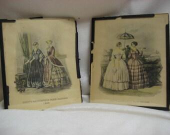Godey Fashion Prints, Glass Covered Print, Vintage Godey Print, Victorian Fashion