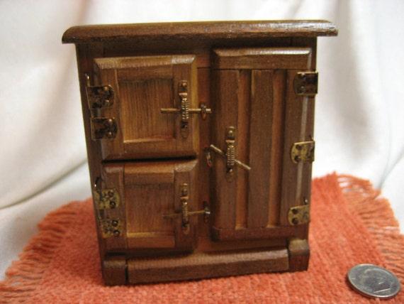 Vintage Colonial Miniature Doll Furniture - Refrigerator - Cold Box - Fridge - Ice Box