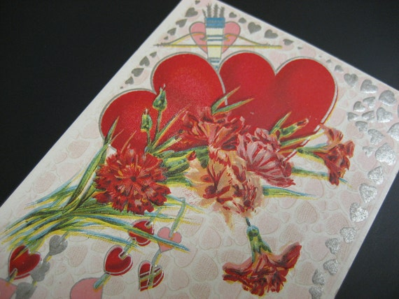 Antique Vintage Valentine's Day Postcard Embossed Dove Hearts Roses Ribbons of Love   Collect or Scrapbook Supply