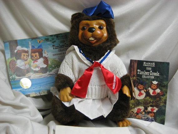 Vintage 1988 Original Wood Raikes Bear Beaver Doll  Lucy  From Applause, Inc.