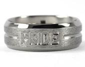 New 8 mm Titanium Pride Ring, Comfort Fit Jewelry