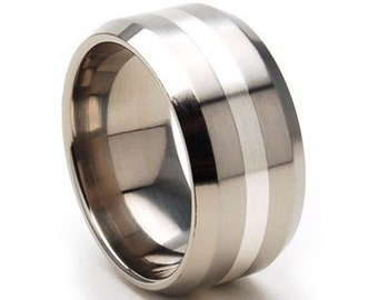New 10mm Titanium Ring, Sterling Silver Inlay, Free Jewelry Sizing 4-17: 10FB12GBR-SSINLAY