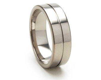 New 7mm Comfort Fit, Custom Titanium Ring,Sizing Band 4-17: 7F1G-P