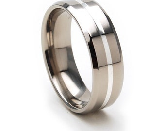 New Comfort Fit, 7mm Titanium Ring, Sterling Silver Inlay Band, Free Jewelry Sizing 4-17