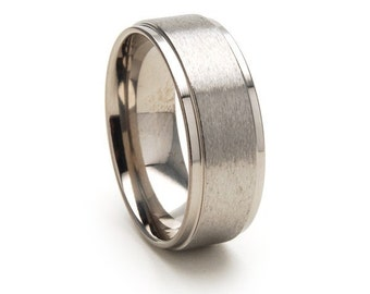 New Titanium Band Titanium Ring Wedding Band Wedding Ring: 8RC-ST