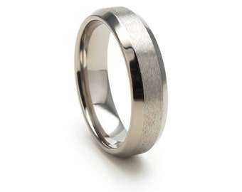 New 6mm Comfort Fit, Titanium Ring, Stone finish USA Made Titanium Wedding Ring - 6BSTOBRT