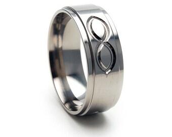 New ETERNITY Design Titanium Band, Free Sizing Ring 4-17