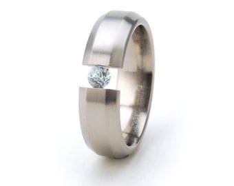 New 6mm- 6B - Brush Finish Titanium Tension Set Ring, Natural Gemstone Jewelry