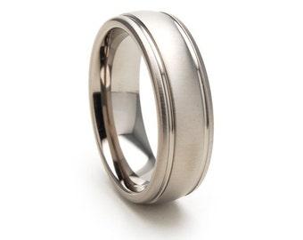 New 7mm Comfort Fit, Custom Titanium Ring: 7HR2G-XB