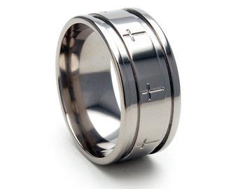 New 10 mm Christian Cross Titanium Ring: 10F2WG-CROSSAROUNDRING