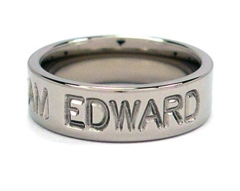 "New 6 mm ""Team Edward"" Titanium Ring: 6FP-TEAMEDWARD"