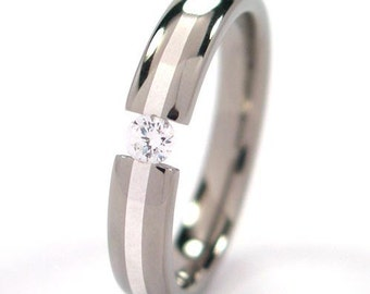 Titanium Tension Set Sterling Silver Inlay Ring Custom Titanium Ring Silver Inlay Ring :4HR11GP-SS