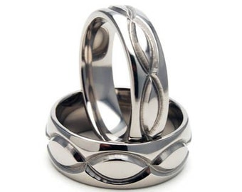 New Infinity His and Hers Set Titanium Wedding Rings - Matching Set