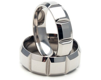 New His and Hers Set - Custom Carved Titanium Rings