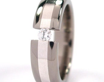 New 6 mm Titanium Band, Sterling Silver Inlay, Tension Set Ring- 6HR12GP-SS
