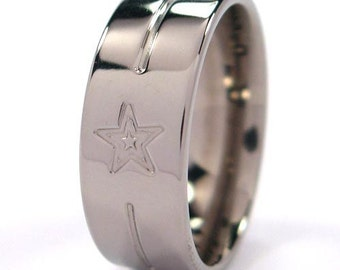 New Comfort Fit Titanium Ring,8F-CBSTAR&LINES-Edged Design-Free Inside Engraving