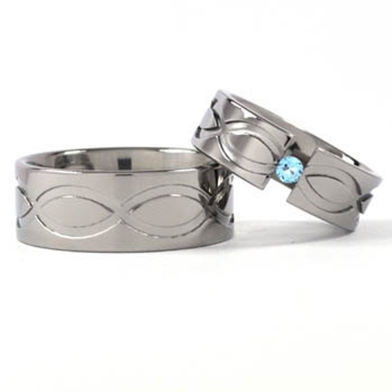 New Infinity His and Hers Tension Set Titanium Wedding Rings: 9FP.7FP-TENS-T1-INFINITY