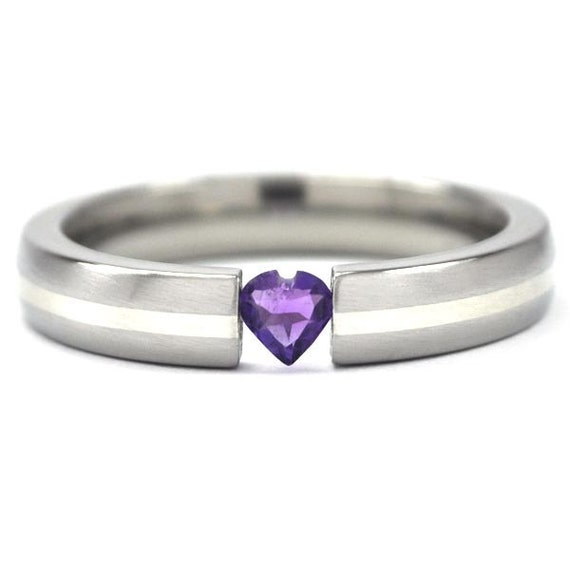 New 4 mm Titanium Tension Setting with a Heart Gemstone and Sterling Silver Inlay: 4HR11G-br-ss-hrt-