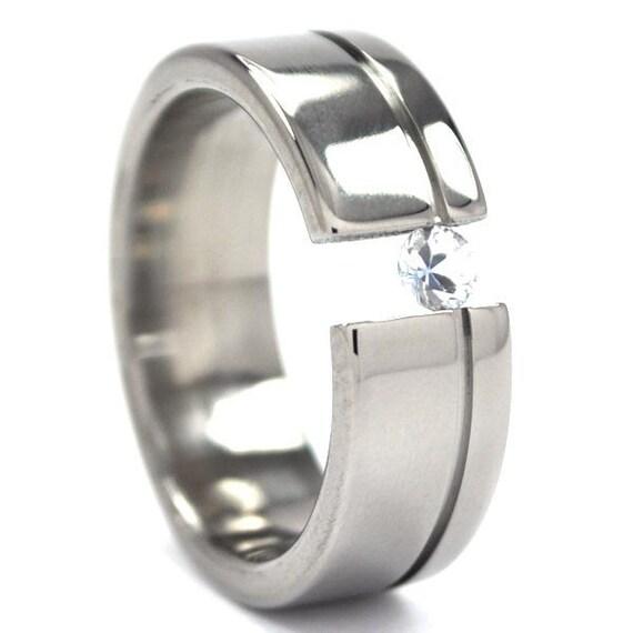 New 7mm Titanium Tension Set Ring - Choose YOUR Gem