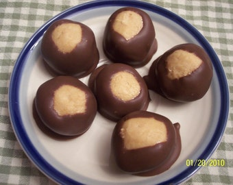 Buckeyes A Delicious Creamy Peanut Butter Candy Partially Dipped in Chocolate One Half Dozen