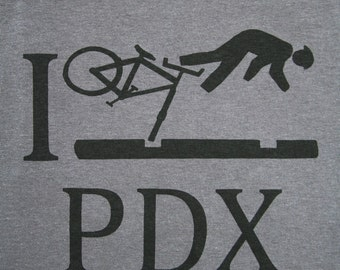 Tall Sizes| Portland Bike| Men's regular T Shirt| I Crash PDX funny wipeout| Bicycle| Large-3XLT| Gift for him| Great gift| Hobby|  Sport.