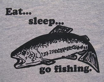 Eat, Sleep, Go Fishing Men's regular T Shirt. Big sizes up to 5XL & Tall sizes. Hobby. Fish. Sport. Great gift for him. Father's day.