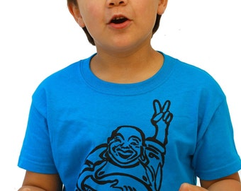 Happy Lucky Buddha| Youth Soft T Shirt| Hotei| Peace Symbol| Art by MATLEY| Children Tees| Great gift| Ohm.