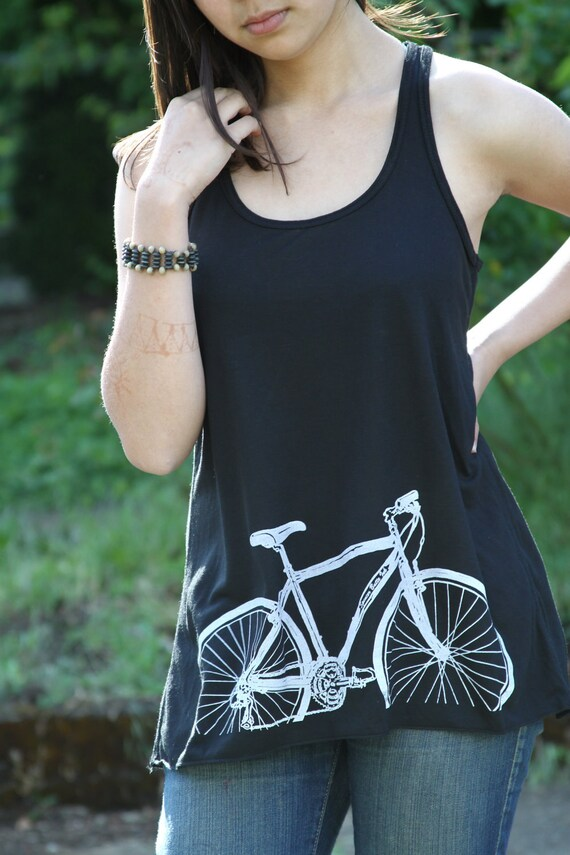 Bicycle Tank Top. Racerback women's flowy tanktop. Relax fit. Gift for her. Cyclist. Bike. Mother's day gift. summer top.