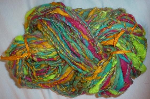 Handspun Yarn - Macaw Handspun Art Yarn - 96 Yards
