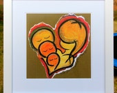 "14x14"" Matted Print : I Love You x 3 in Brown"