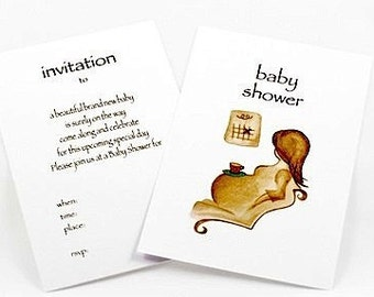 BUY 1 GET 1 FREE Baby Shower Original Art Invitations 10pk - 'Counting Days'